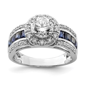 Sterling Silver Rhodium-plated CZ & Lab Created Sapphire Ring