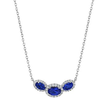 Always On My Mind Sapphire and Diamond Three-Stone Oval Pendant