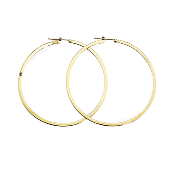 18KT GOLD XL FLAT ROUND HOOP EARRINGS
