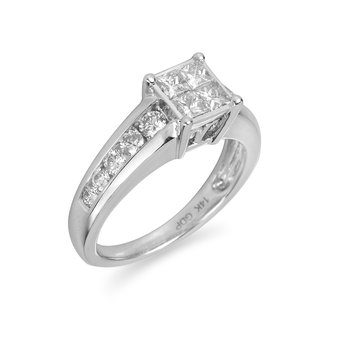 14K WG Diamond Invisible Setting Quad Ring in Princess and Round Dia