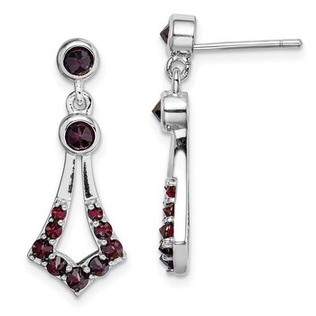Sterling Silver Rhodium plated with Garnet Dangle Earrings