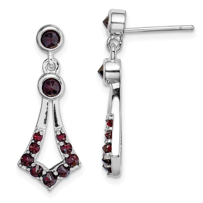 Quality Gold Sterling Silver Rhodium plated with Garnet Dangle Earrings