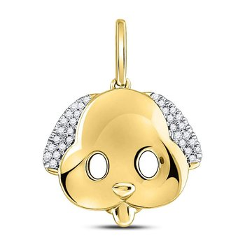 10kt Yellow Gold Womens Round Diamond Puppy Dog Emoji Animal Pendant 1/12 Cttw