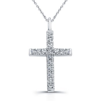 Single Cut Micro Prong Br Cross Pendant