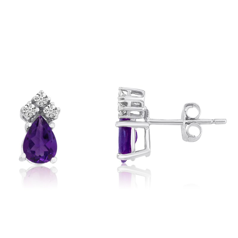 Color Merchants 14k White Gold Amethyst Pear Earrings with Diamonds