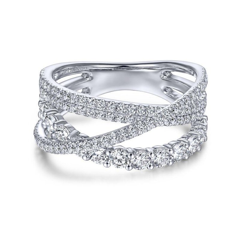 Gabriel Fashion 14K White Gold Criss Crossing Layered Diamond Ring