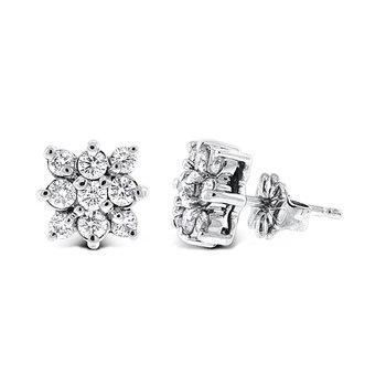 Diamond Cluster Earrings in 14k White Gold with 18 Diamonds weighing .60ct tw.