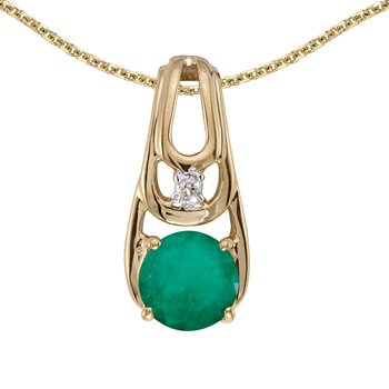 14k Yellow Gold Round Emerald And Diamond Pendant