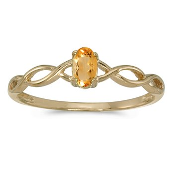 10k Yellow Gold Oval Citrine Ring