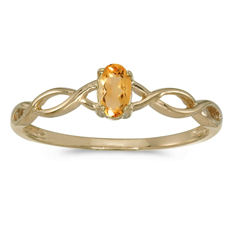 Color Merchants 10k Yellow Gold Oval Citrine Ring