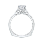 Carizza 14K White Gold Emerald Cut Diamond Solitaire Engagement Ring (Semi-Mount)