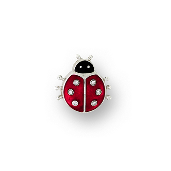 Sterling Silver Ladybug Lapel Pin-Red. Diamonds