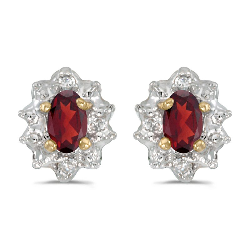 Color Merchants 10k Yellow Gold Oval Garnet And Diamond Earrings