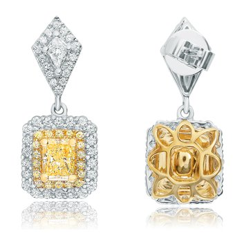 Radiant Cut Diamond Drop Earrings