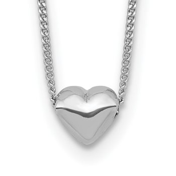 Sterling Silver Rhodium-plated Polished Heart Necklace