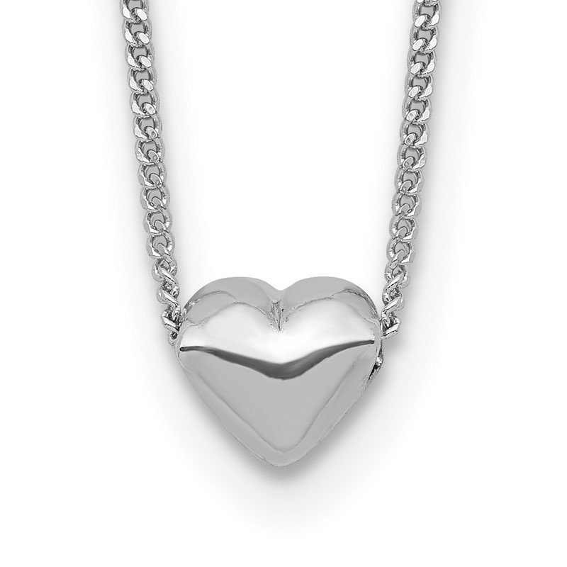 Quality Gold Sterling Silver Rhodium-plated Polished Heart Necklace