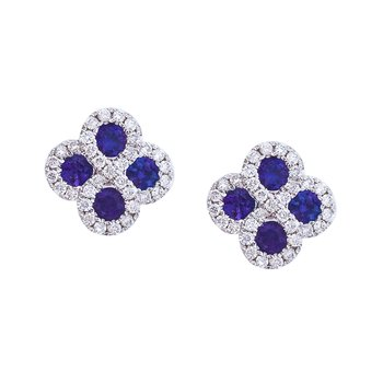 14k White Gold Sapphire and .26 ct Diamond Clover Earrings