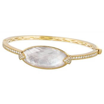 White Orchid Mother of Pearl Bangle