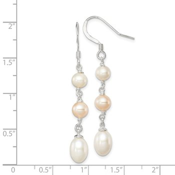 Sterling Silver FWC Pink and White Pearl Dangle Earrings