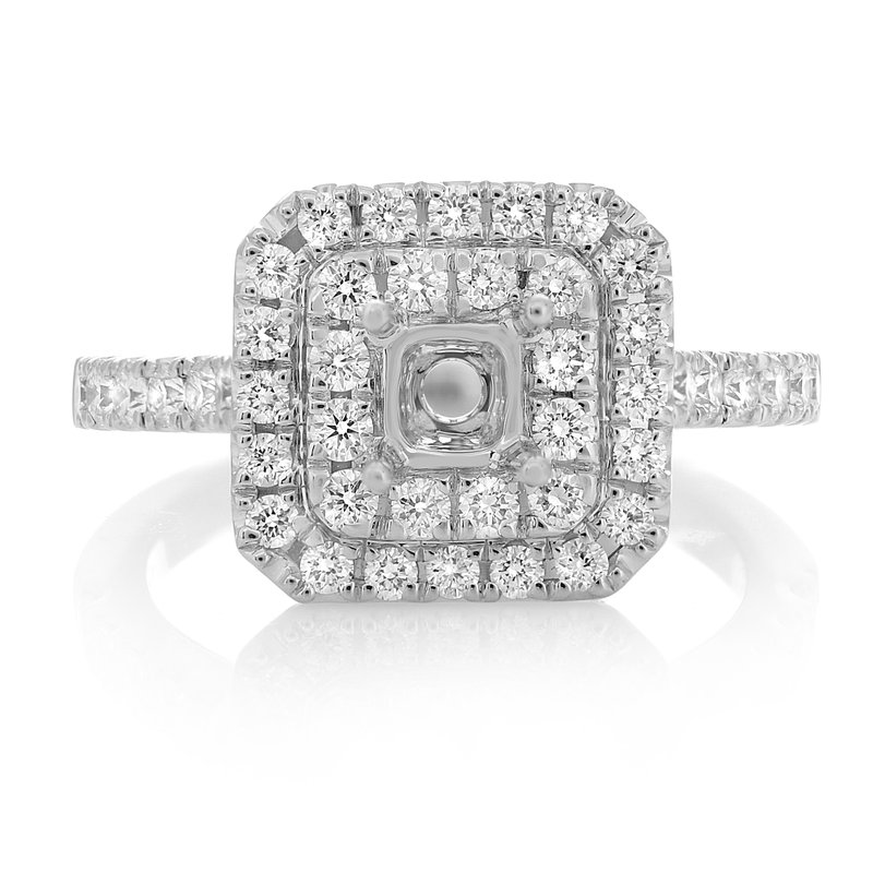 Roman & Jules White Gold Double Halo Engagement Setting