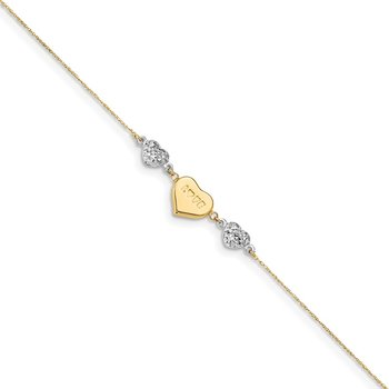 14K Two Tone Puffed LOVE Heart & D/C Hearts Bracelet