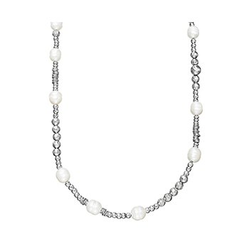 "Honora Sterling Silver 9.5-10mm White Ringed Freshwater Culture Pearl Rhodium Bead 36"" Necklace with Extender"