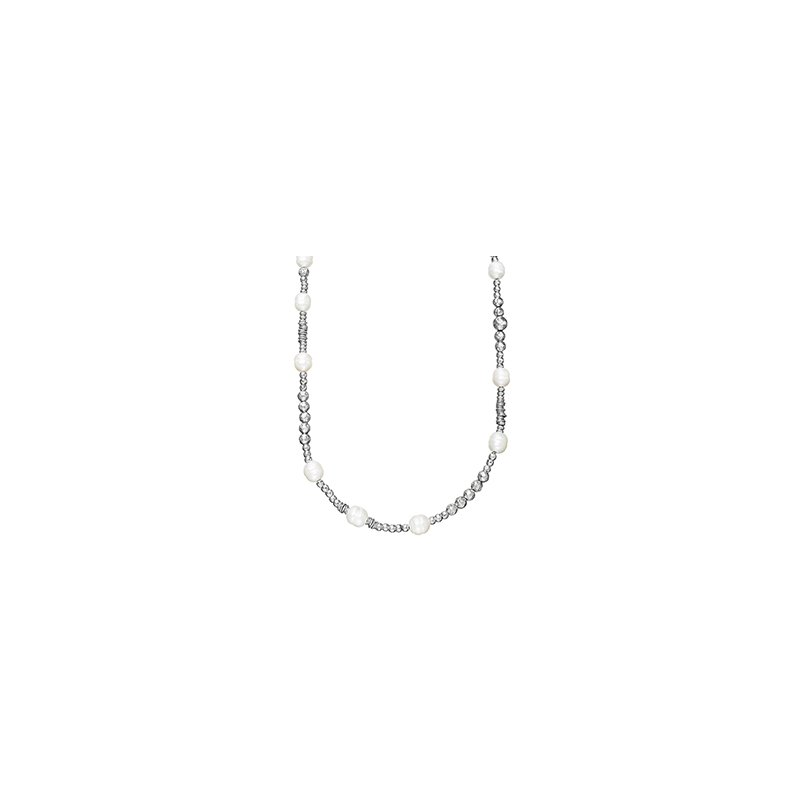 "Honora Honora Sterling Silver 9.5-10mm White Ringed Freshwater Culture Pearl Rhodium Bead 36"" Necklace with Extender"