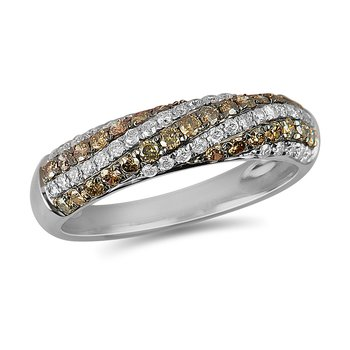 14K WG White & Champagne Diamond Band