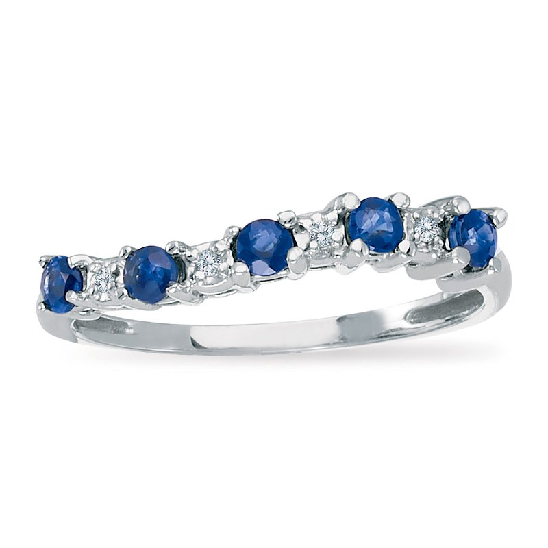 Color Merchants 14k White Gold Sapphire and Diamond Wave Band