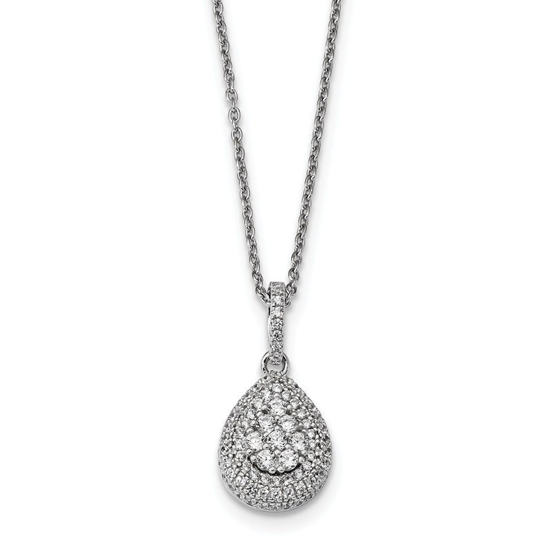 Lester Martin Online Collection Sterling Silver & CZ Brilliant Embers Teardrop Necklace