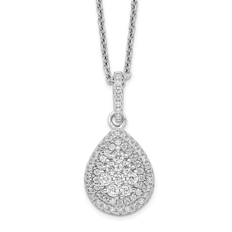 Quality Gold SS Rhodium-Plated CZ Brilliant Embers Teardrop Necklace