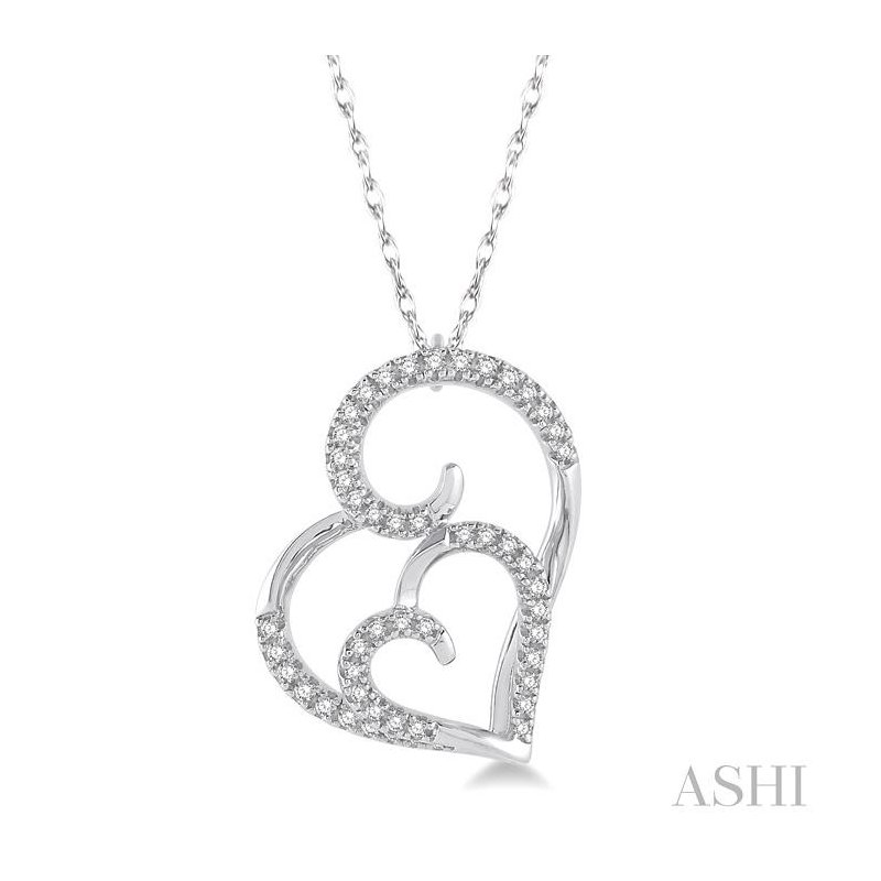 ASHI double heart shape diamond pendant