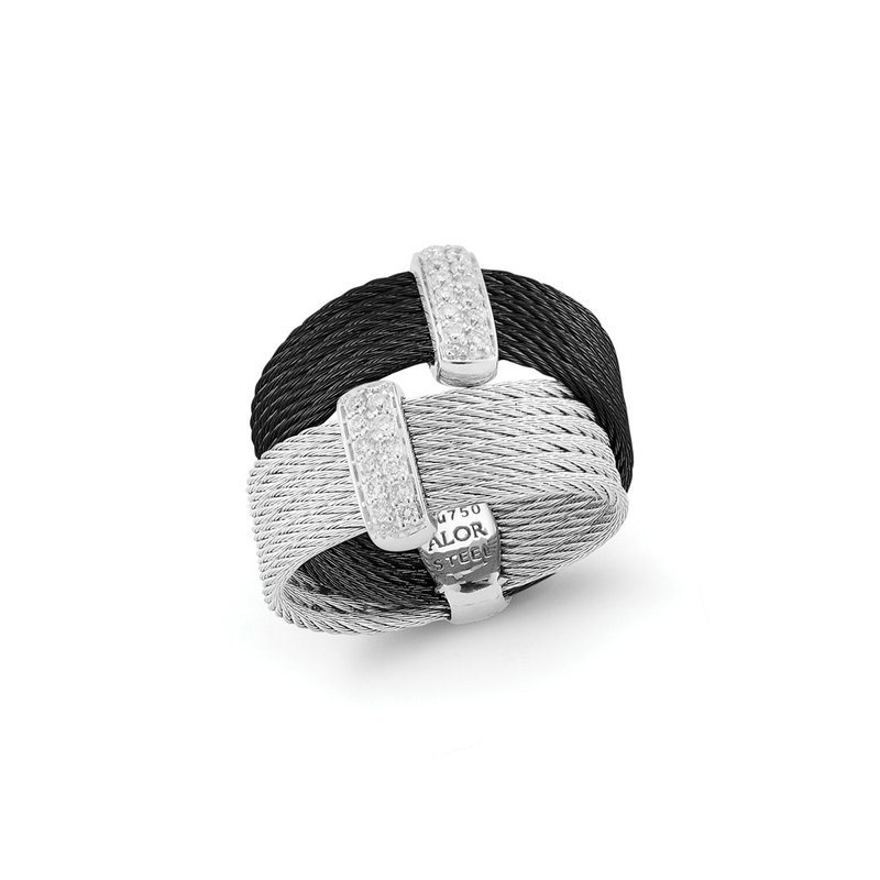 ALOR Catalog Black & Grey Cable Crossed Ring with 18kt White Gold & Diamonds