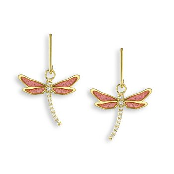 Pink Dragonfly Wire Earrings.18K -Diamonds - Plique-a-Jour