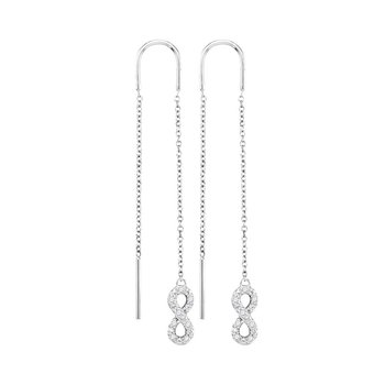 10kt White Gold Womens Round Diamond Infinity Threader Earrings 1/6 Cttw
