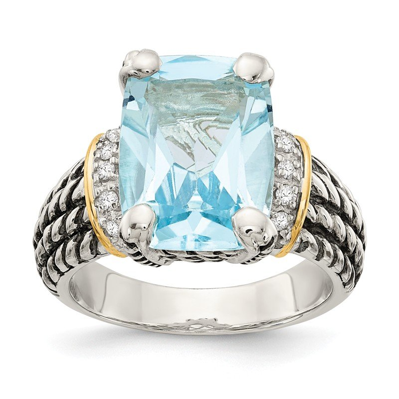 Shey Couture Sterling Silver w/14k Diamond & 8.10Sky Blue Topaz Ring