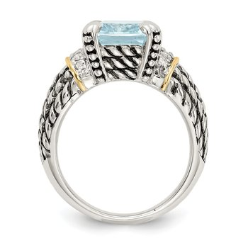 Sterling Silver w/14k Diamond & 8.10Sky Blue Topaz Ring