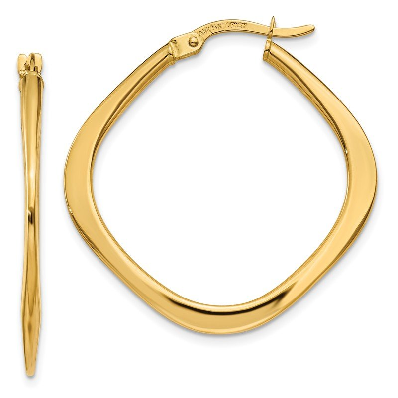 Quality Gold 14k Tapered Square Hoop Earrings
