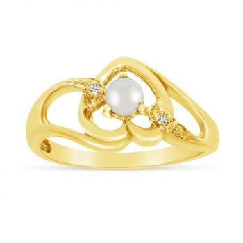 14k Yellow Gold Freshwater Cultured Pearl And Diamond Heart Ring
