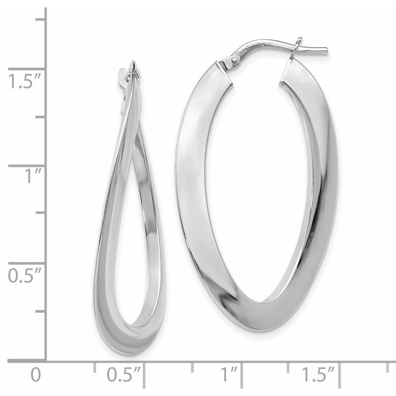 Leslie's Leslie's 14K White Gold Polished Twisted Oval Hoop Earrings
