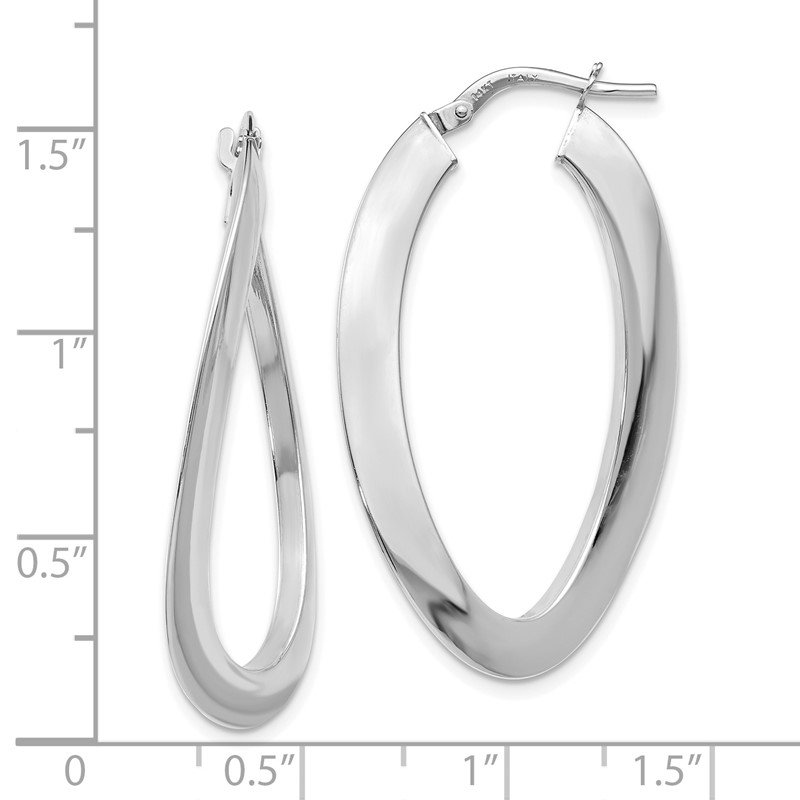 JC Sipe Essentials Leslie's 14K White Gold Polished Twisted Oval Hoop Earrings