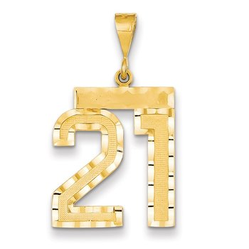14k Large Diamond-cut Number 21 Charm