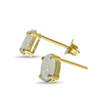 14k Yellow Gold Oval Opal Earrings