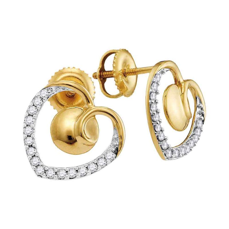Kingdom Treasures 10kt Yellow Gold Womens Round Diamond Heart Screwback Earrings 1/4 Cttw