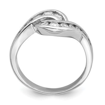 Sterling Silver Rhodium-plated Fancy CZ Ring