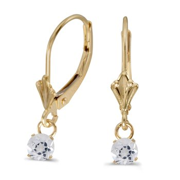 10k Yellow Gold 5mm Round Genuine White Topaz Lever-back Earrings