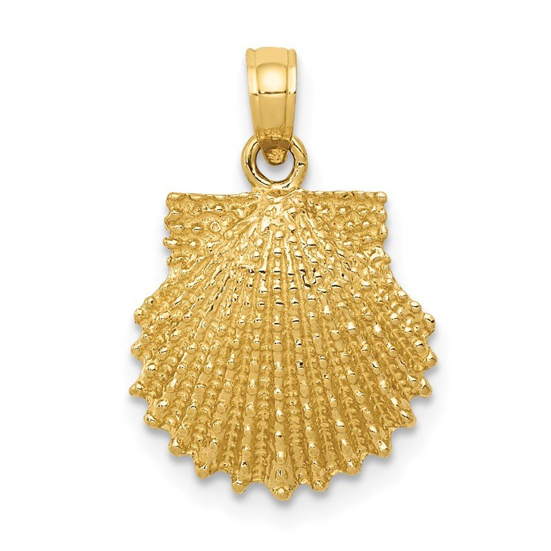Quality Gold 14k Textured Scallop Shell Pendant