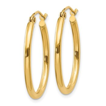14k Oval Polished Hoop Earring