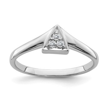Sterling Silver Rhodium Plated Diamond Triangle Ring