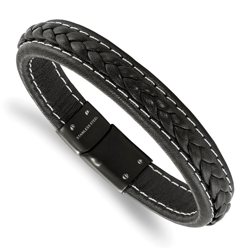 Chisel Stainless Steel Polished Black IP-plated Black Leather 8.25in Bracelet